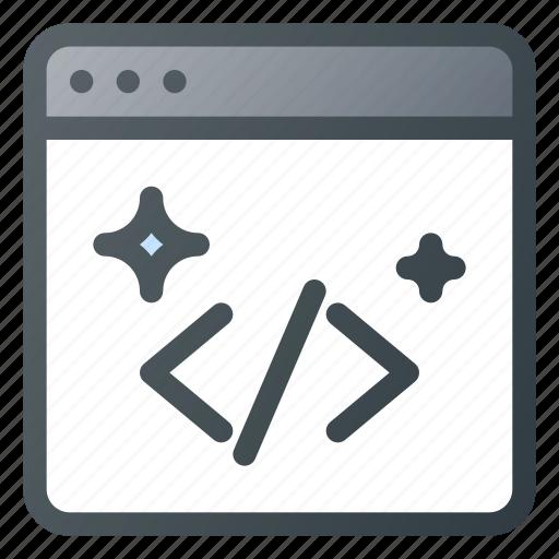 Shine, good, coding, code, clean, seo icon