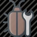 bug, fix, fixing, program, security, seo icon
