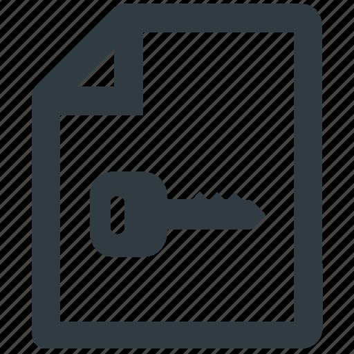 document, document encryption, encryption, file, key icon