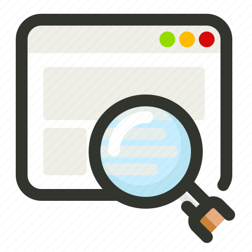 glass, magnifying, search, website icon