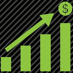 analytics, bar, chart, dollar, increase icon
