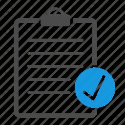 accept, checklist, checkmark, clipboard, document, list, tasks, valid icon