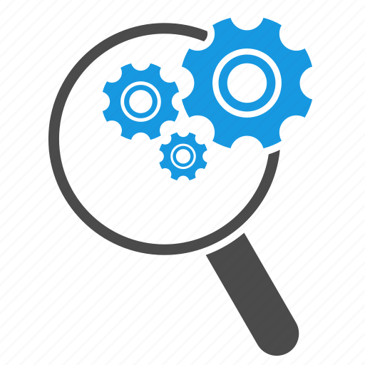 configuration, find, gears, magnifying glass, search, search engine, search optimization, settings, tools icon