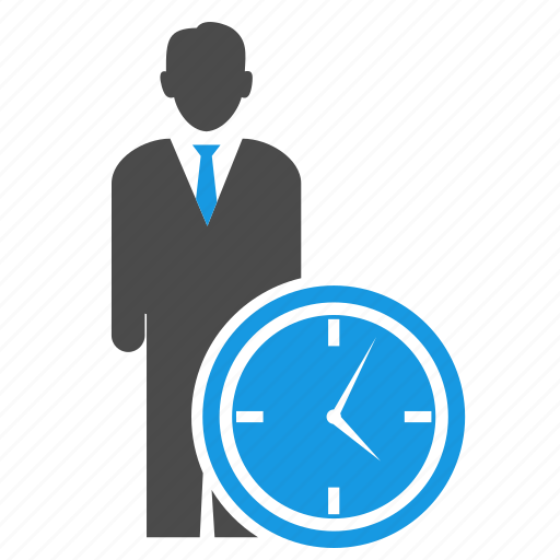 avatar, businessman, clock, human, man, seo, time management, watch icon