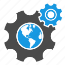 connection, development, earth, gear, globe, optimization, seo, web optimization icon