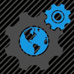 connection, development, earth, gear, globe, optimization, seo, web optimization icon