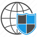 antispam, antivirus, brandmauer, connection, firewall, globe, shield icon