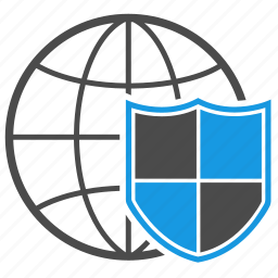 antispam, antivirus, brandmauer, connection, firewall, globe, shield icon