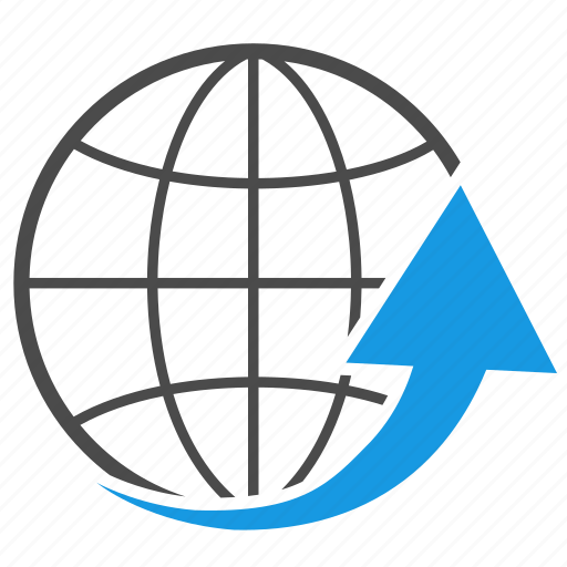 arrow, earth, global, globe, network, planet, seo, solution icon
