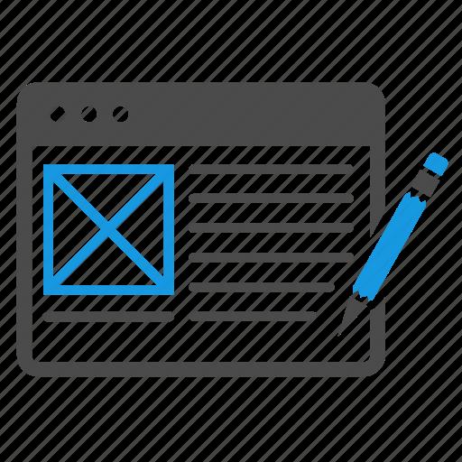 application, article, blog, browser, content management, pencil, seo, web design, website icon