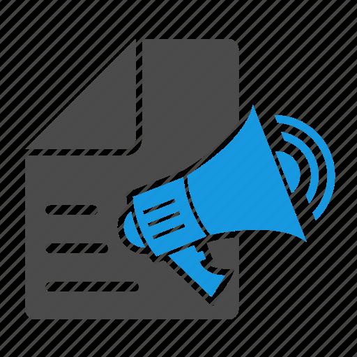 advertising, bullhorn, content, content marketing, files, megaphone, message, seo, speaker icon