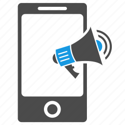 ads, advertisement, bullhorn, megaphone, mobile, phone, seo, speaker icon