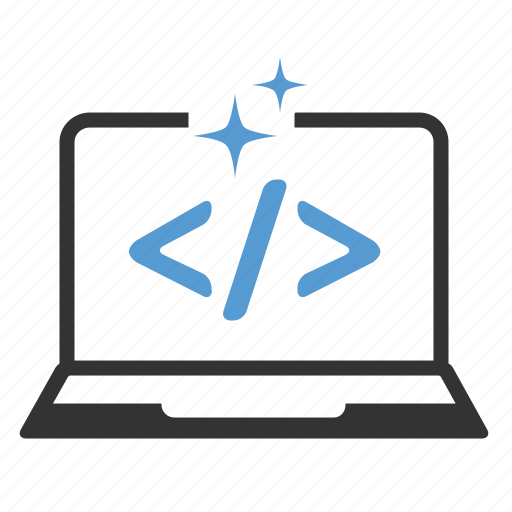 application, clear code, computer, custom development, laptop, programming, source code icon