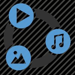 audio, content development, file, image, multimedia, sharing, video icon
