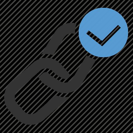 anchor, backlink, checkmark, done, inbound links, link building, url icon
