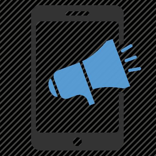 advertising, bullhorn, megaphone, mobile ads, promotion, seo, speaker icon