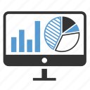 analytics, charts, monitoring, report, sales, screen, statistics icon