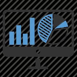 analytics, charts, monitoring, report, sales, screen, statistics icon