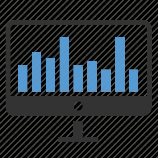 analytics, computer, diagram, profit, sales, screen, statistics icon