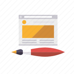 marketing, paint brush, seo, service, web, web design, web page icon