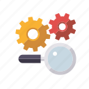 cogs, marketing, search engine, seo, service, setup, web icon