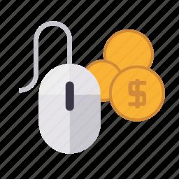 marketing, money, mouse, pay per click, seo, service, web icon