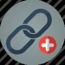 backlink, backlinks, link, links, plus, search engine optimization, seo, url icon
