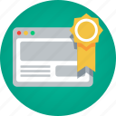 badge, certificate, medal, quality, search engine optimization, seo, site quality, website, website quality icon
