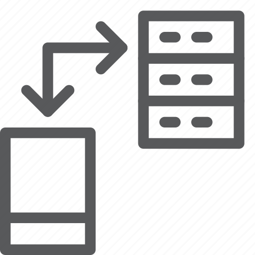 data, layers, mobile, network, phone, server, smart, transfer icon