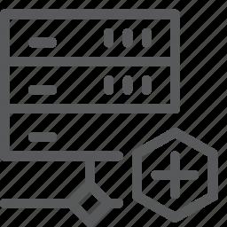 add, create, hosting, layers, network, plus, server, web icon