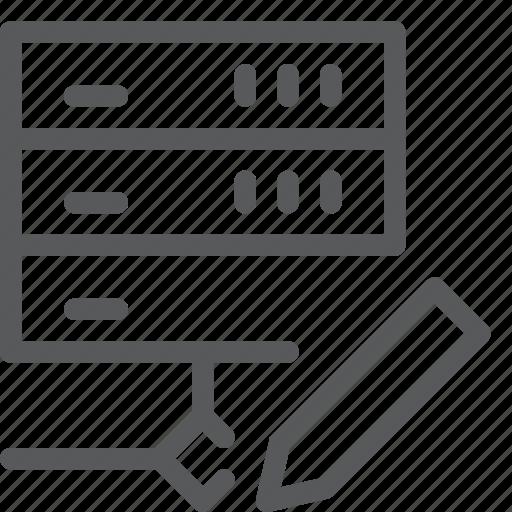 data, edit, hosting, layers, network, web, write icon