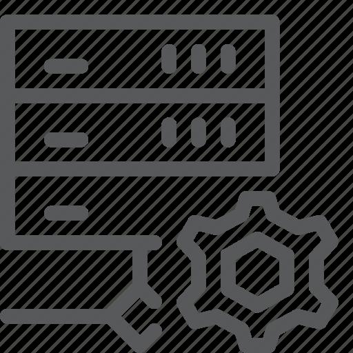 cog, hosting, layers, network, server, setting, web icon