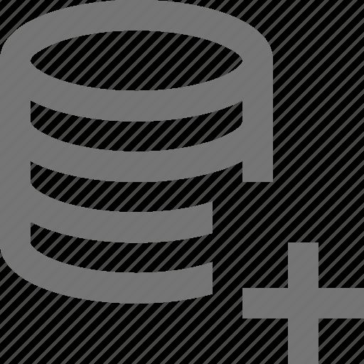 add, cloud, database, network, new, plus, server, storage icon