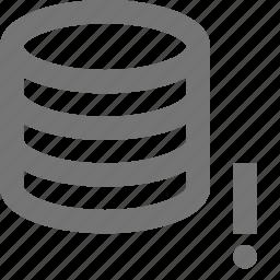 alert, cloud, database, error, exclamation, network, server, storage icon