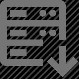 arrow, cloud, database, down, download, network, server, storage icon