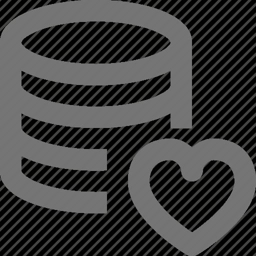 cloud, database, favorite, heart, like, network, server, storage icon