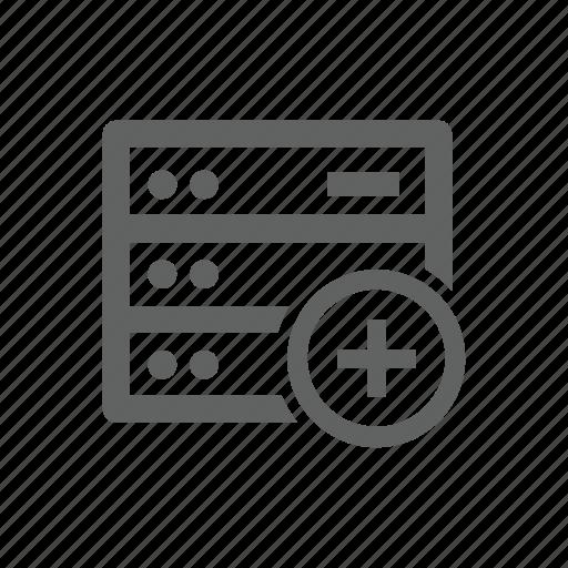 add, hardware, new, plus, server icon