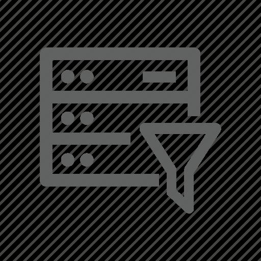 filter, funnel, hardware, network, server icon