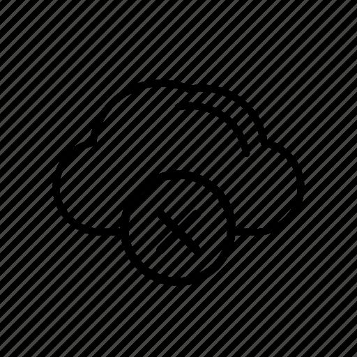 cloud, delete, delete from server, remove, remove from server icon