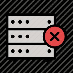 cross, cross sign, database, delete, hd, server, storage icon