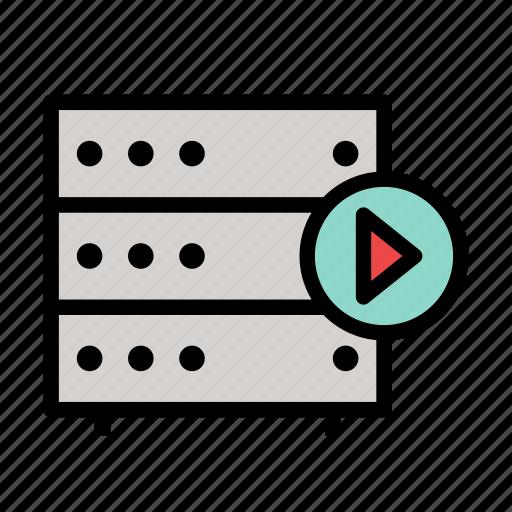 database, server, storage, video, youtube icon