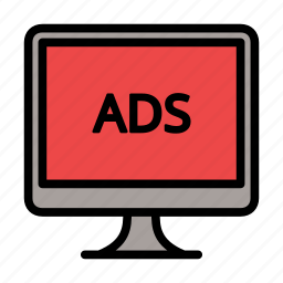 ad, ads, advertising, monitor icon
