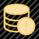 database, error, exclamation, server, storage icon