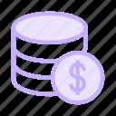 cash, database, dollar, mainframe, storage icon