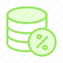 database, mainframe, percentage, server, storage icon