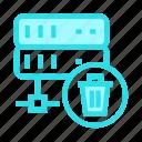 database, datacenter, delete, server, trash
