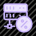 database, datacenter, percentage, server, storage