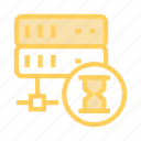 database, hourglass, server, share, stopwatch icon