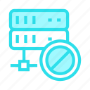 ban, block, mainframe, server, storage icon