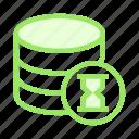 database, hourglass, server, storage, timer